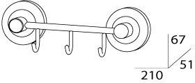 Крючок FBS Standard STA 024 на планке (3 шт хром