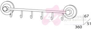 Крючок FBS Standard STA 027 на планке (6 шт хром