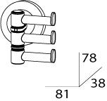 Полотенцедержатель FBS Standard STA 047 тройной поворотный длина 8,1 см цвет хром