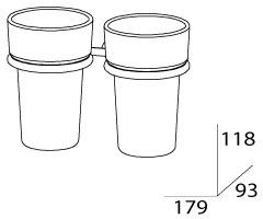 Стакан FBS Universal UNI 026 подвесной двойной хром /хрусталь матовый