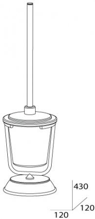 Ершик FBS Universal UNI 060 для туалета напольный хром /матовый хрусталь
