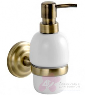 Дозатор для мыла Fixsen Retro FX-83812 подвесной бронза/керамика белая
