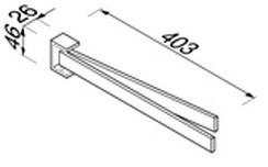 Полотенцедержатель Geesa Modern Art 3505-02 двойной вращаюшийся длиной L=43,6 см хром