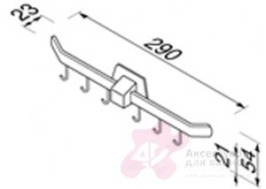 Вешалка с крючками Geesa Standard Hotel 5190 (6 штук хром