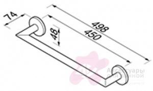 Полотенцедержатель Geesa Nemox 6507-02-45 одинарный длиной 45 см хром