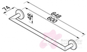 Полотенцедержатель Geesa Nemox 6507-02-65 одинарный длиной 60 см хром