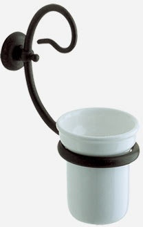 Стакан Globo Paestum PA040 настенный металл ковка / керамика белая