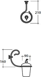 Дозатор для мыла Globo Paestum PA076 настенный металл ковка / керамика белая