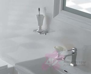 Стакан Globo Relais RE0381X на металлической полке хром / керамика белая