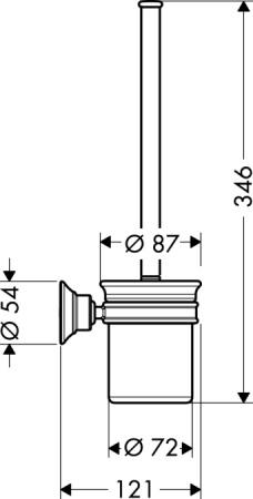 Ерш для туалета Hansgrohe Ax Montreux 42035000 подвесной хром / керамика белая