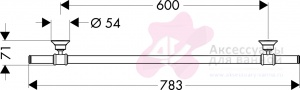 Полотенцедержатель Hansgrohe Ax Montreux 42060000 одинарный 60 см хром