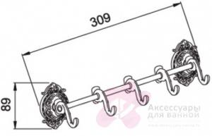 Крючки Hayta Gabriel 13902-5/VBR на планке (5 шт Antic Brass (состаренная латунь