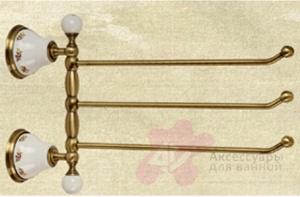 Полотенцедержатель Migliore Provance ML.PRO-60.554.CR тройной длина 35 см хром / керамика