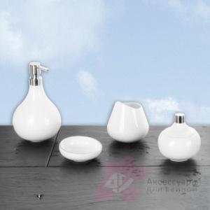 Дозатор Nicol Iris 2101926 настольный для жидкого мыла фарфор белый патинированные края