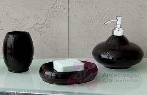 Стакан Nicol Samira 2112025 настольный керамика черная
