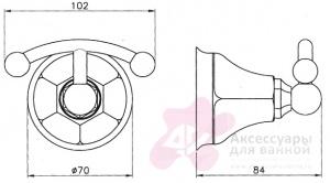 Крючок Niсolazzi Classica lusso 1481 CR двойной хром
