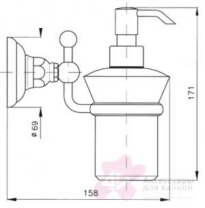 Дозатор для жидкого мыла Niсolazzi Classica lusso 1489B CR 43 настенный хром /Swarovski / керамика черная