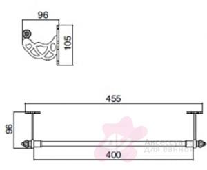 Полотенцедержатель Sbordoni Classic CL103OL одинарный 40 см латунь