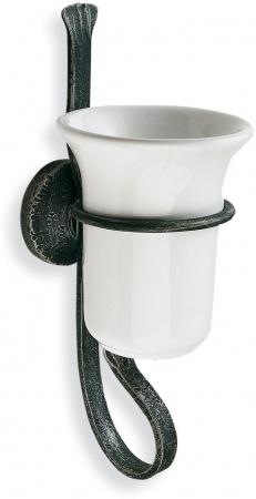 Стакан StilHaus Flora F 10 настенный керамика белая / античная черная тоскана