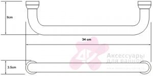 Поручень для ванны Wasserkraft K-1066 длина 34 см хром