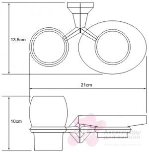 Стакан и мыльница Wasserkraft Aller K-1100 K-1126 подвесные хром/стекло прозрачное