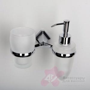 Стакан с дозатором мыла Wasserkraft Aller K-1100 K-1189 подвесные хром/стекло матовое