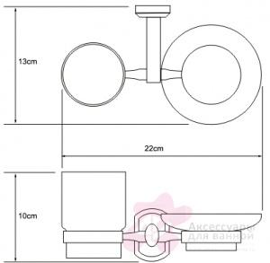 Стакан и мыльница Wasserkraft Oder K-3000 K-3026 подвесные хром/стекло прозрачное