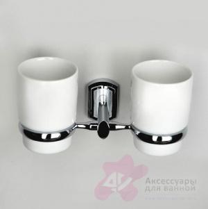 Стакан Wasserkraft Oder K-3000  K-3028DC подвесной двойной хром/керамика белая