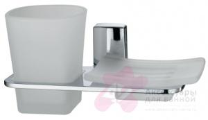 Стакан и мыльница Wasserkraft Leine K-5000 K-5026 подвесные хром/стекло матовое
