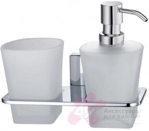 Стакан с дозатором мыла Wasserkraft Leine K-5000 K-5089 подвесные хром/стекло матовое