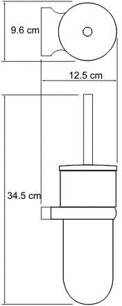 Ершик для туалета Wasserkraft Berkel K-6800 K-6827 подвесной хром/стекло матовое