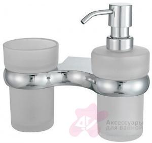 Стакан с дозатором мыла Wasserkraft Berkel K-6800 K-6889 подвесные хром/стекло матовое