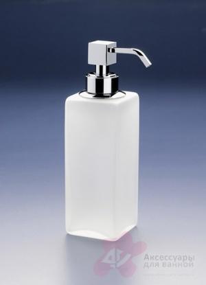 Дозатор для жидкого мыла Windisch Box Matt 90412MCR настольный хром /стекло матовое белое