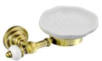 Мыльница Aksy Bagno Fantasia Antique 8407 A настенная бронза / керамика белая