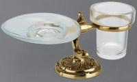 Стакан и мыльница Art&Max Barocco Crystal AM-1789-Cr-C настольные хром / стекло матовое / Swarovski