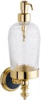 Дозатор для мыла Boheme Palazzo Nero 10167 настенный золото /стекло кракле / керамика черная