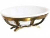 Мыльница Cameya Deco 10T6-40-N настольная бронза/керамика белая