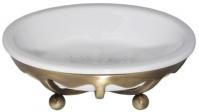 Мыльница Cameya Deco 10T6-40 настольная бронза/керамика белая