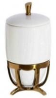Контейнер Cameya Deco 50T6-40-N настольный бронза/керамика белая