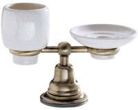 Cтакан и мыльница Carbonari Celeste Anticata PACE ANT BR настольные античная бронза / керамика белая