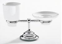 Cтакан и мыльница Carbonari Gamma PAGA CR настольные хром / керамика белая