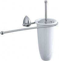 Ершик с полотенцедержателем Carbonari Monster  SCMO2 SS для туалета настенный хром матовый / керамика белая