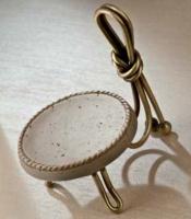 Мыльница Etruska Nodo 1857/63/TRA настольная бронза / травертино