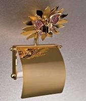 Бумагодержатель Etruska Papillon 4754/55/PERLA закрытый золото/белый