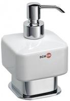 Дозатор жидкого мыла Schein Allom 222DS-T настенный `куб` хром /керамика белая