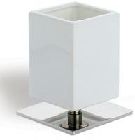 Стакан StilHaus Urania 617(08-BI) настольной хром / керамика белая