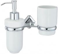 Стакан с дозатором мыла Wasserkraft Aller K-1100 K-1189C подвесные хром/керамика белая