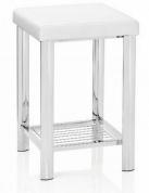 Подробнее о Стульчик Andrea House BA65219 для ванны душевой кабины хром / сиденье белое (экокожа)