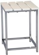 Подробнее о Стульчик Andrea House BA8089 для ванны душевой кабины хром / сиденье белое (дерево