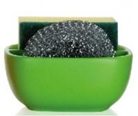 Подробнее о Контейнер Andrea House CC63012 для мыла, губки керамика зеленая/хром